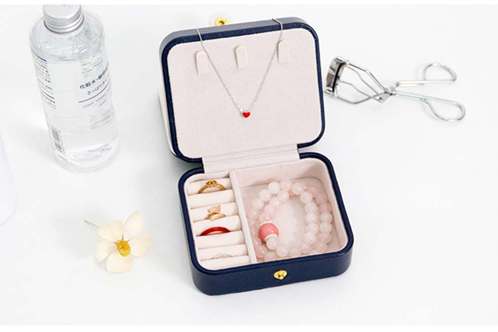 Small Jewelry Box With Lock, Traveling Storage Case Organizer With Mirror For Jewelry Accessories 6