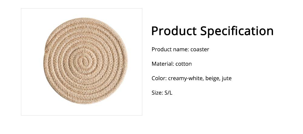 Handmade Cotton Coaster with Round Shape, Stylish Hot Pot Mat with Woven Rope for Kitchen, Office 7