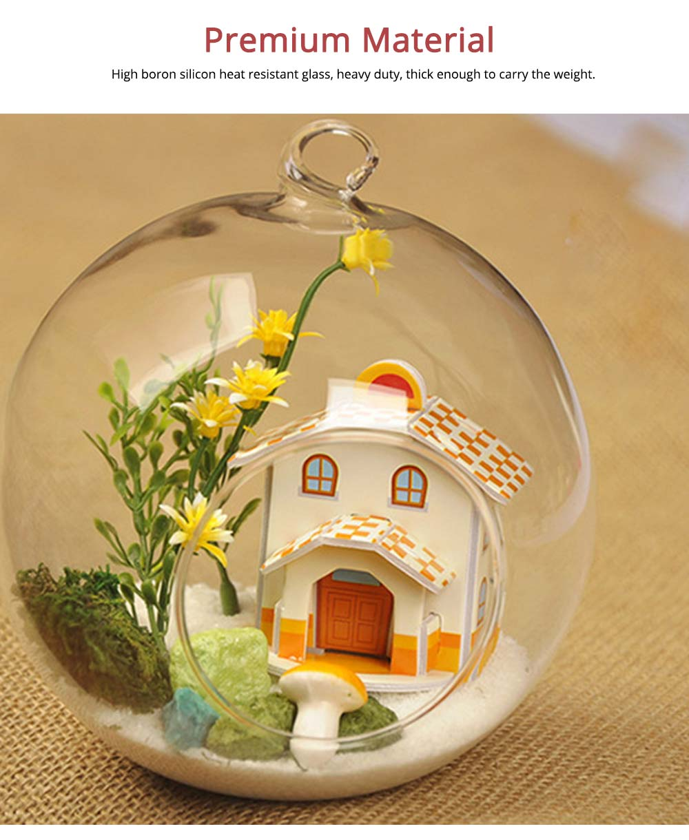 Hanging Glass Terrarium Miniature House Decoration for House, Office, Room,Gift 3
