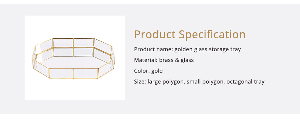 Nordic Style Glass Storage Tray for Small Jewelry and Cosmetics, Storage Salver with Golden Brass Frame 6