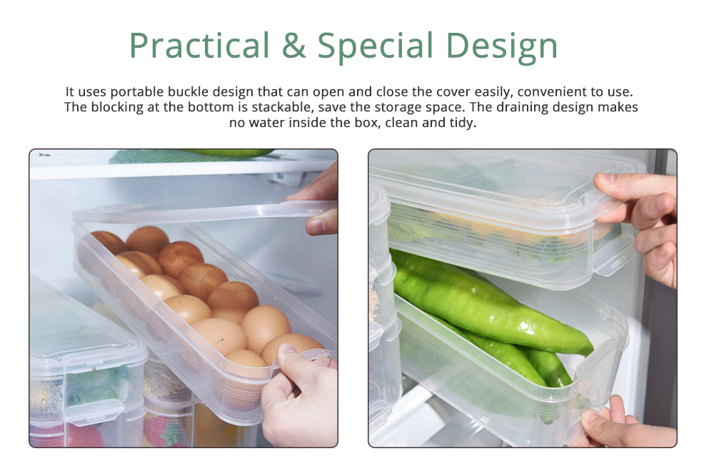 Japanese Style Food Crisper for Fridge Use, Multifunctional Fresh Container Storage Box with multi-layer 4