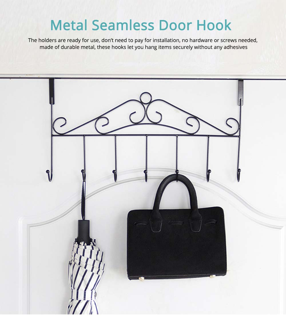 Metal Seamless Door Hook, Decorative Hook Organizer for Hat, Belt, Towel, Coat, Dress 0