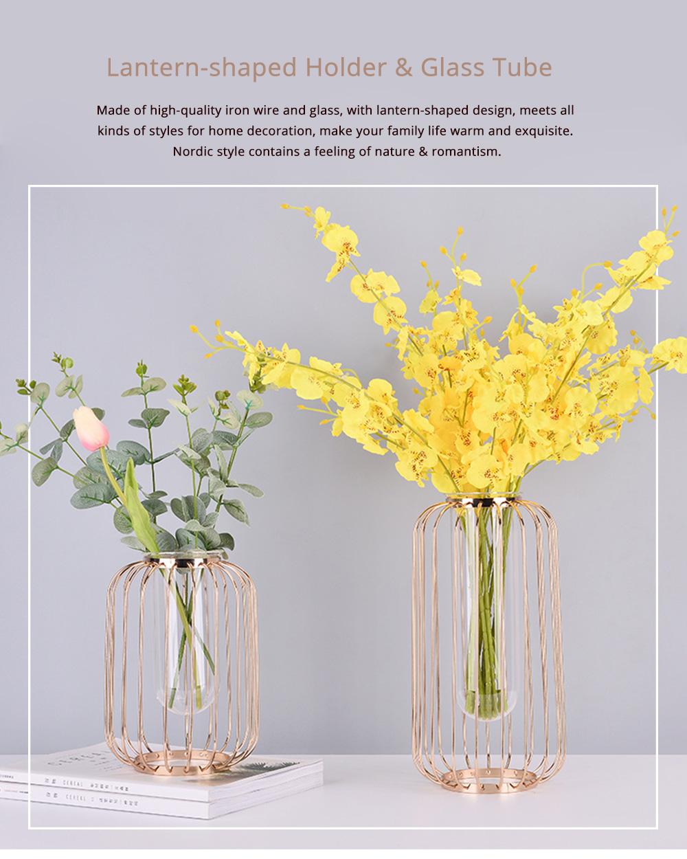 Luxury Nordic Style Vase with Wrought Iron Art, Lantern-shaped Holder with Glass Tube Inside 0