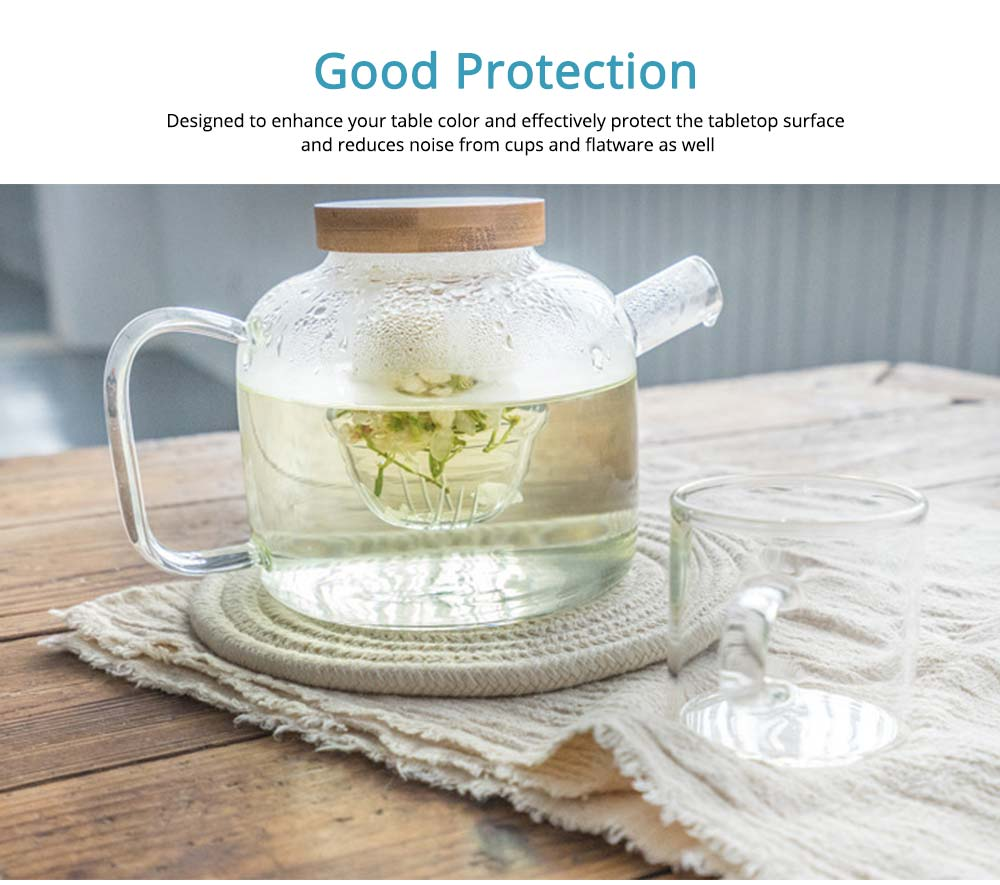 Handmade Cotton Coaster with Round Shape, Stylish Hot Pot Mat with Woven Rope for Kitchen, Office 2