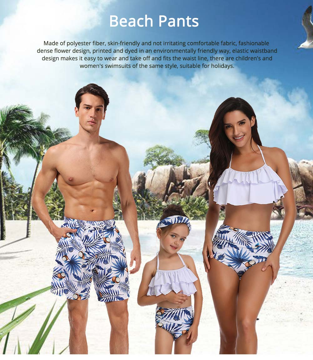 Mens Dense Flower Pattern Swimsuit, Swimsuit Beach Pants For Men and Children 7