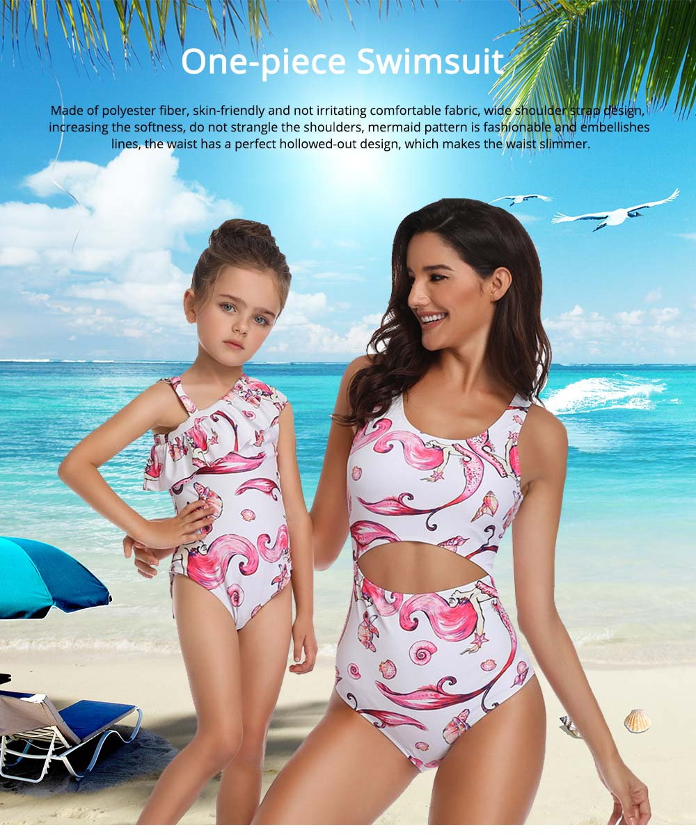 Fashionable Mermaid Bathing Suit for Parent-child, Polyester Fiber One-piece Swimming Suit 0