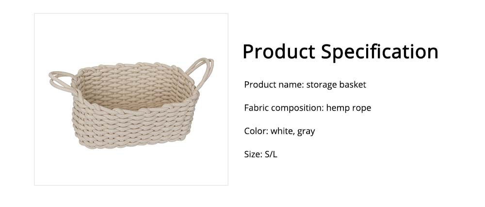 Minimalist Hemp Rope Storage Basket, Stylish Square Storage Container 6