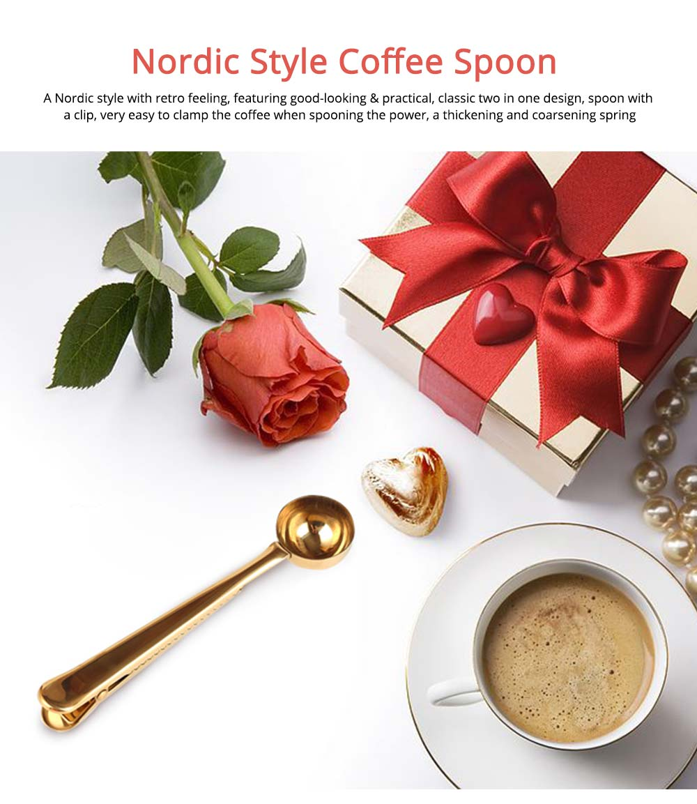 Nordic Style Long Handle Gold Tablespoon, Durable Stainless Steel Coffee Spoon with Bag Clip 0