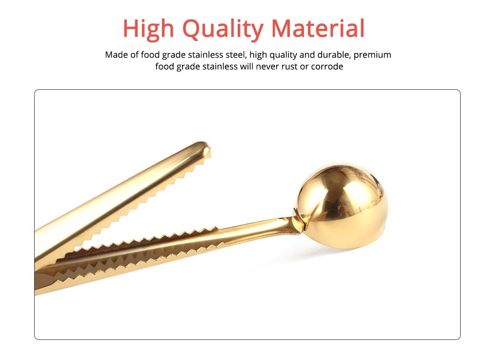 Nordic Style Long Handle Gold Tablespoon, Durable Stainless Steel Coffee Spoon with Bag Clip 1