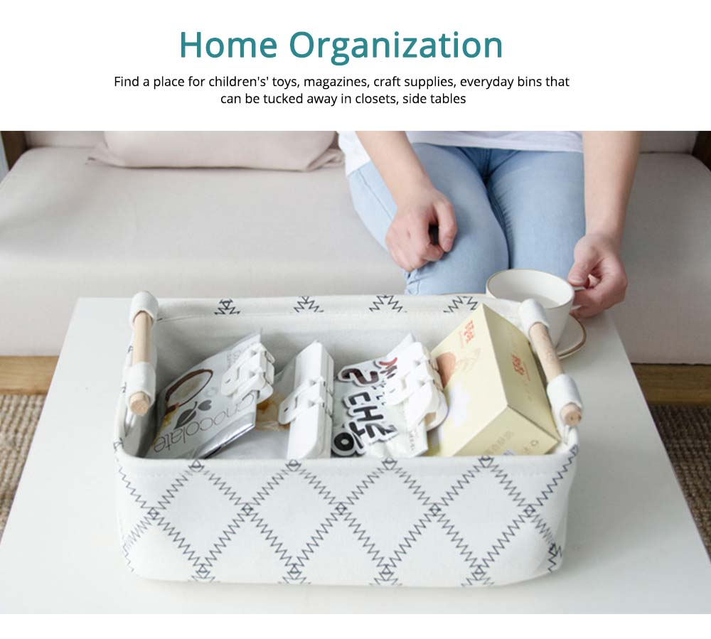 Fashionable Canvas Storage Box with Handle, Collapsible Storage Bin for Laundry, Toy Organizer 4