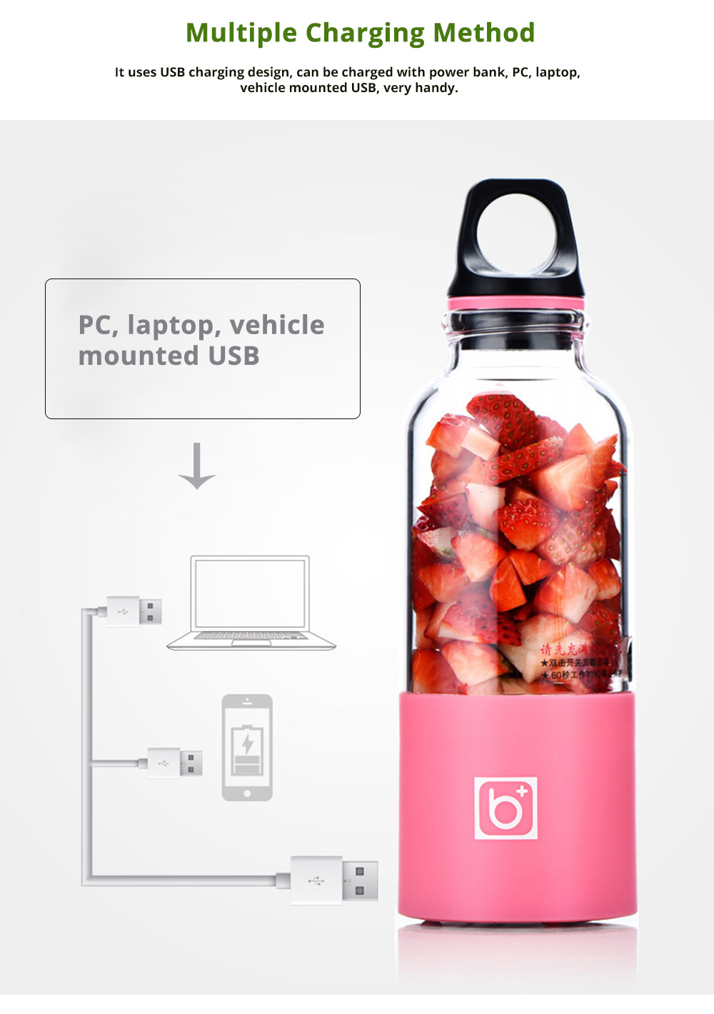 Portable Electric Juice Extractor, Mini Juicer Cup with USB Charging 4