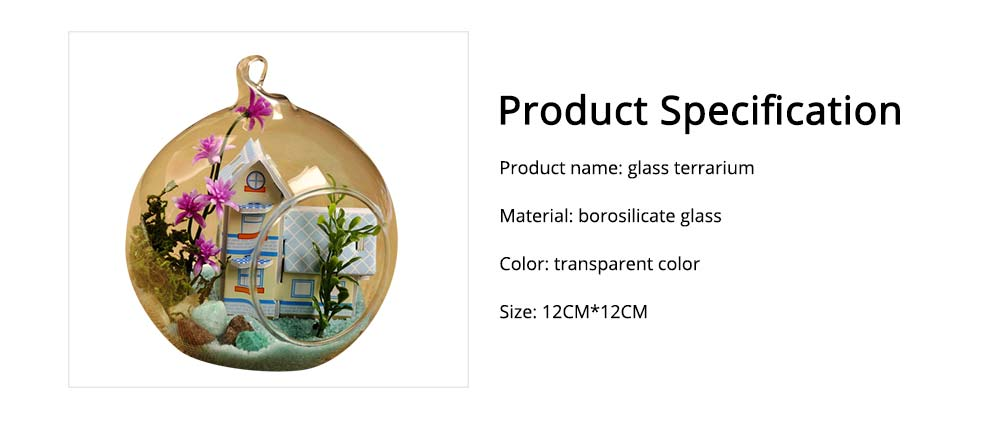 Hanging Glass Terrarium Miniature House Decoration for House, Office, Room,Gift 6
