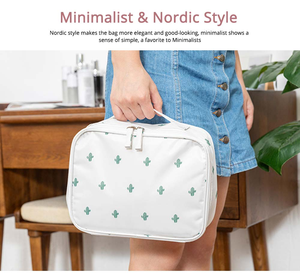 Nordic Style Waterproof Cosmetic Storage Bag with handle and zipper for Traveling & Domestic Use 6