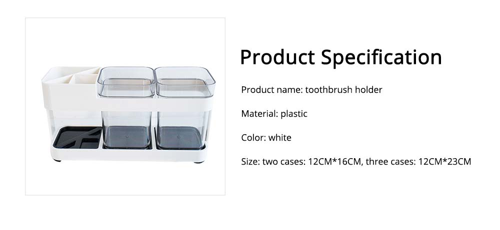 Detachable Plastic Toothbrush Holder with Cup, Wash Supplies Storage Shelf for Household Use 6