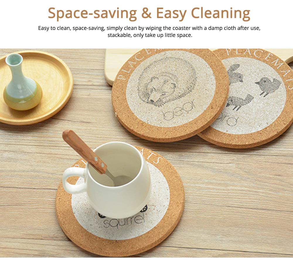 Nordic Cork Coaster with Round Edges, Cute Animal Cup Mat for Hot Pot, Cup & Bowl 4