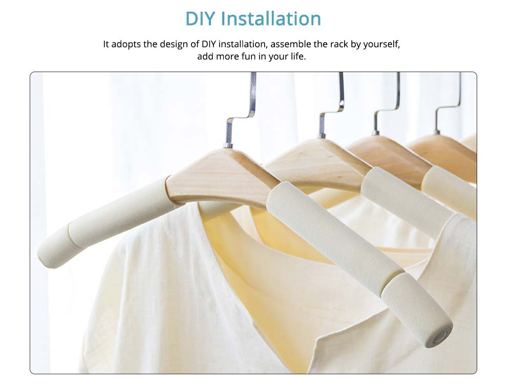DIY Solid Wood Clothes Hanger with Sponge, Non-Slipping & Seamless Rack for Household Use 1