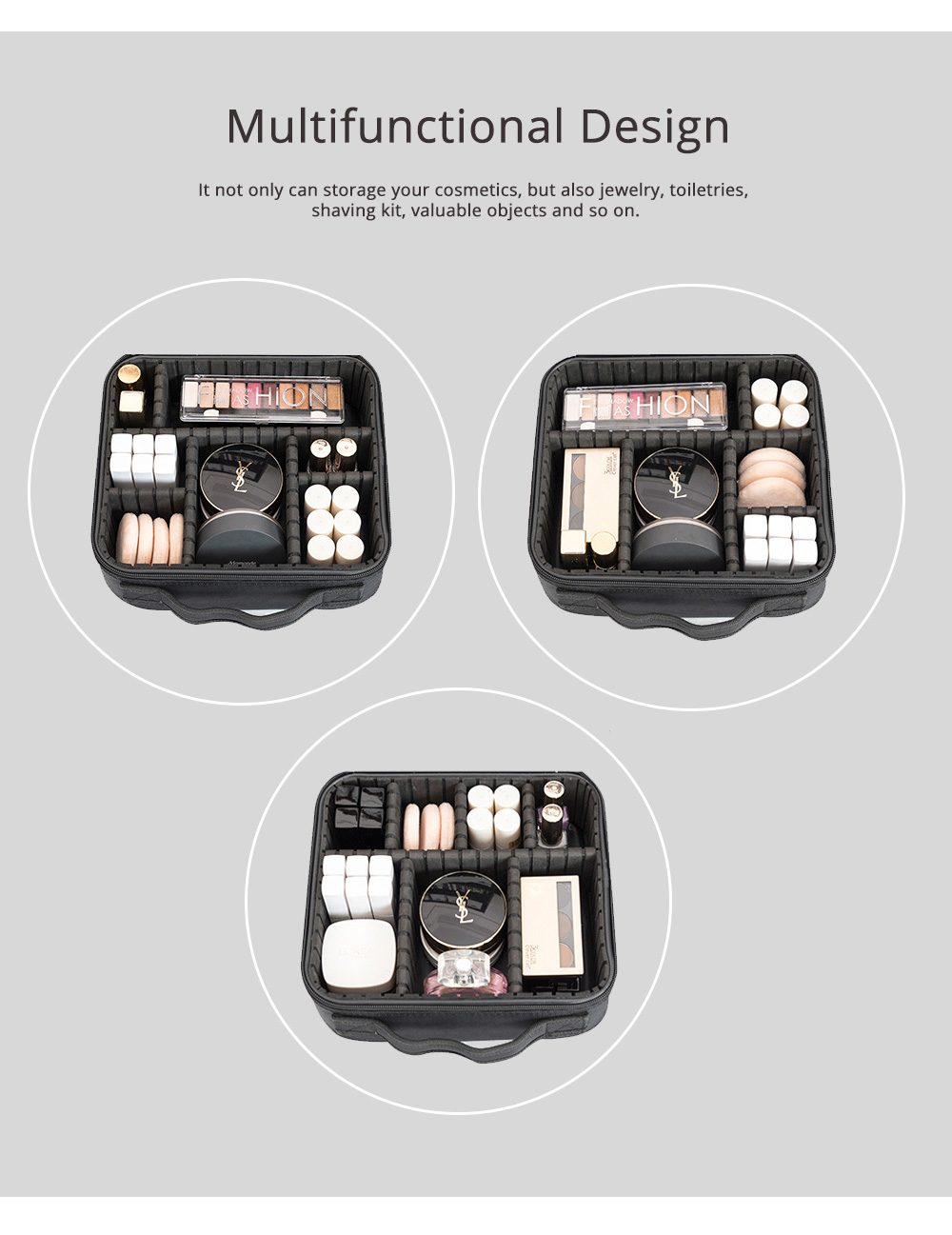 Portable Travel Cosmetics Bag, Black Storage Bag With Adjustable Dividers For Cosmetics, Makeup Brushes, Toiletry & Jewelry 3