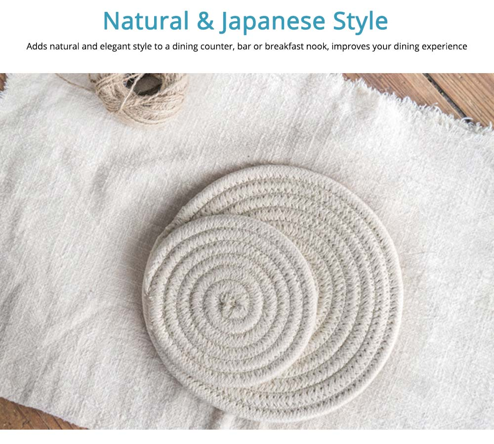 Handmade Cotton Coaster with Round Shape, Stylish Hot Pot Mat with Woven Rope for Kitchen, Office 4
