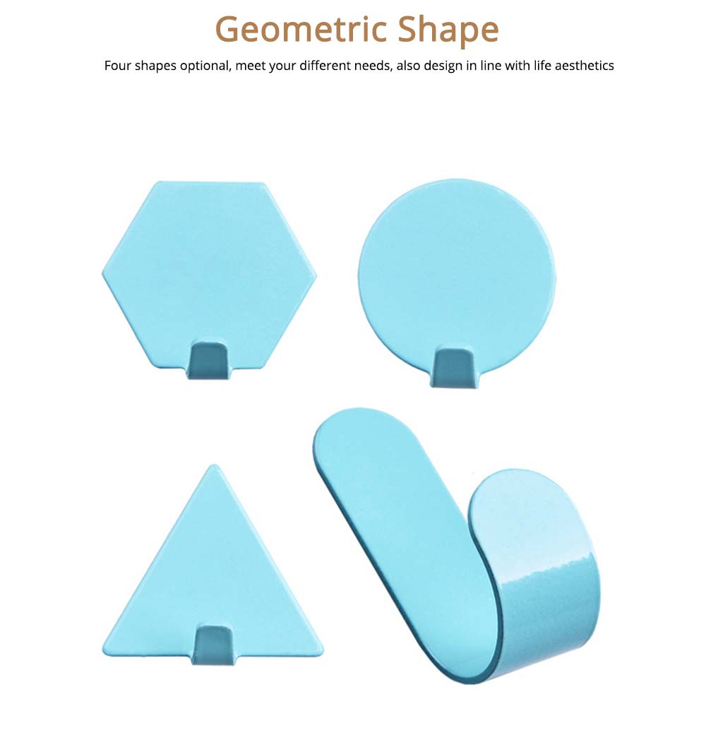 Geometric Seamless Adhesive Hook, Heavy Duty Iron Wall Hook for Bedroom, Living Room 3
