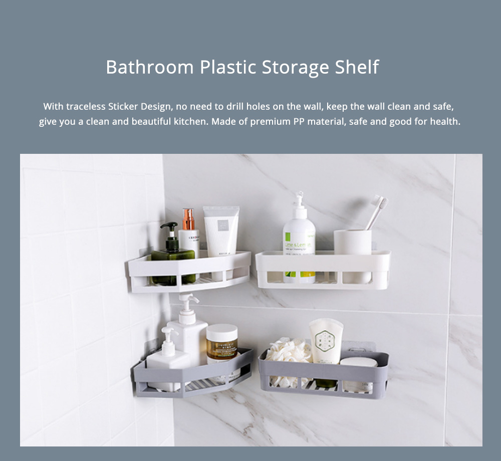 Plastic Storage Shelf Corner Triangle Holder, Bathroom Shelf Organizer Storage Kitchen Rack without Drilling 0