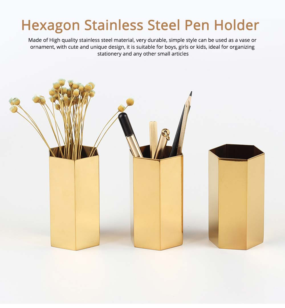 Hexagon Metal Pen Holder, Stainless Steel Storage Container for Desk Ornament 0
