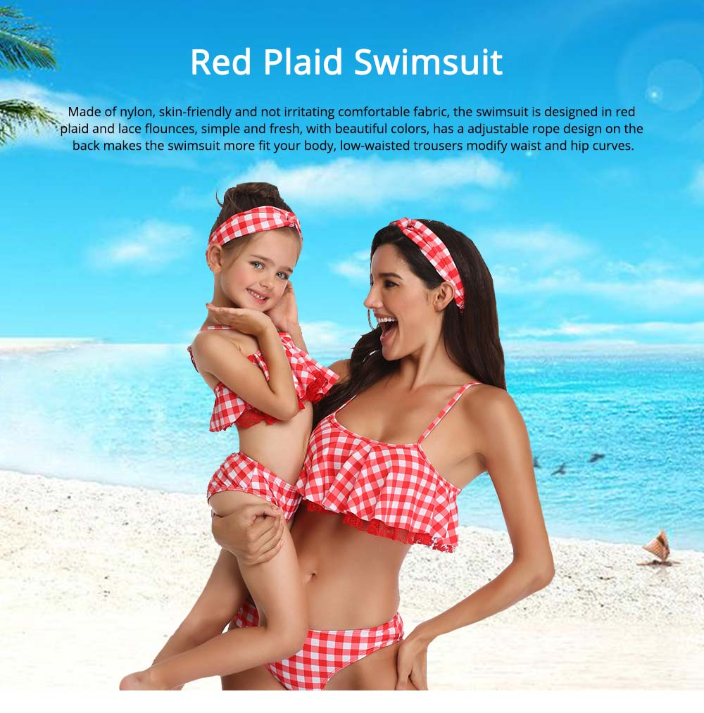 Red Plaid Swimsuit, Fashionable Bathing Suit for Women and Girls 0