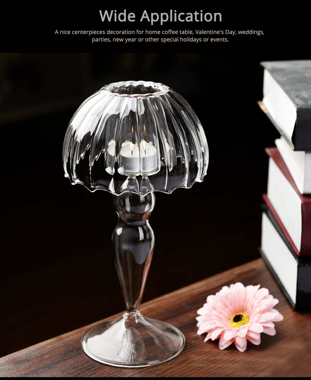 Stylish Glass Candlestick Holder with European Style for Wedding, Party, Table Decoration 5