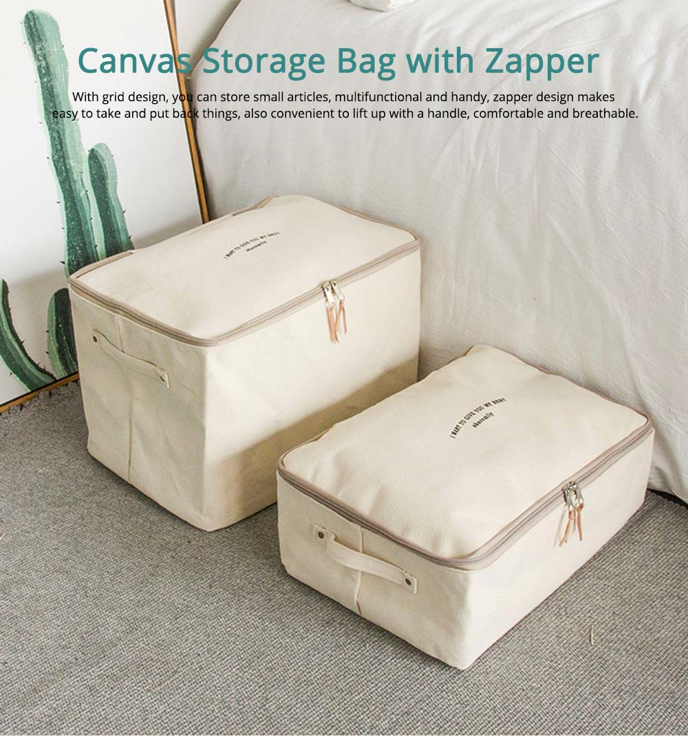 Japanese Style Thickening Quilt Storage Bag, Canvas Clothes Storage Bag with Zapper 0
