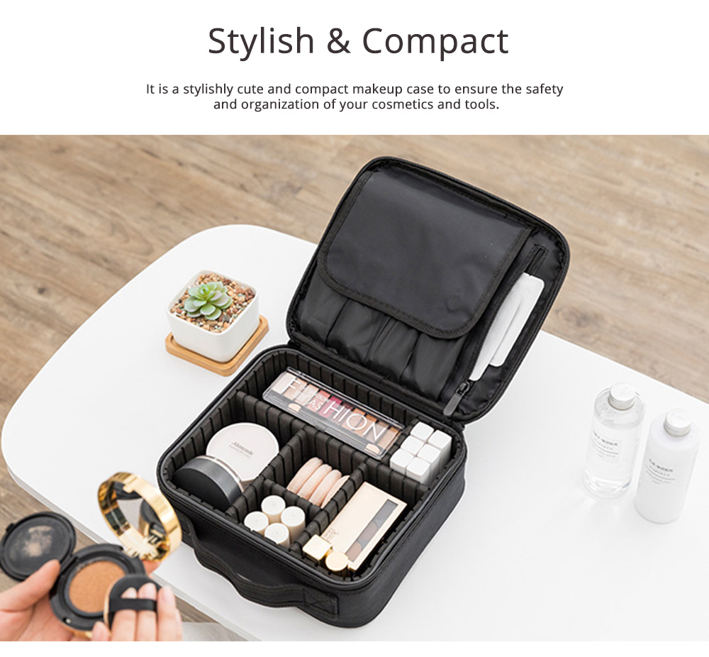 Portable Travel Cosmetics Bag, Black Storage Bag With Adjustable Dividers For Cosmetics, Makeup Brushes, Toiletry & Jewelry 5