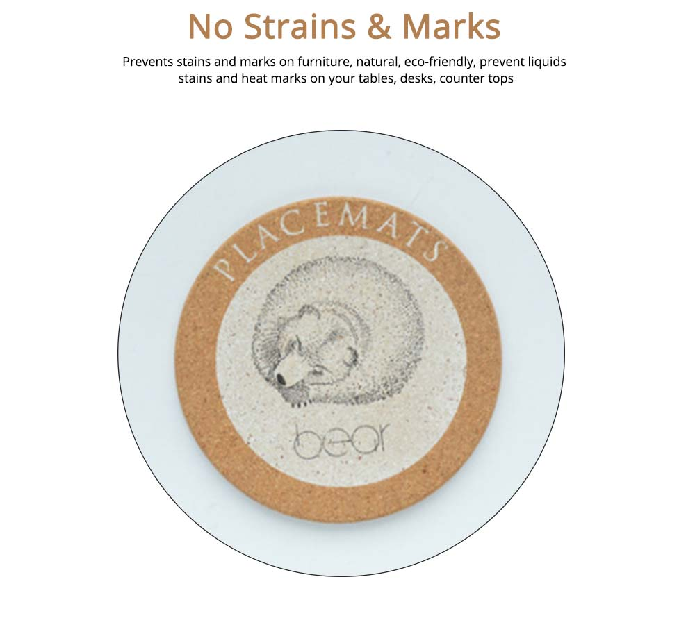 Nordic Cork Coaster with Round Edges, Cute Animal Cup Mat for Hot Pot, Cup & Bowl 3