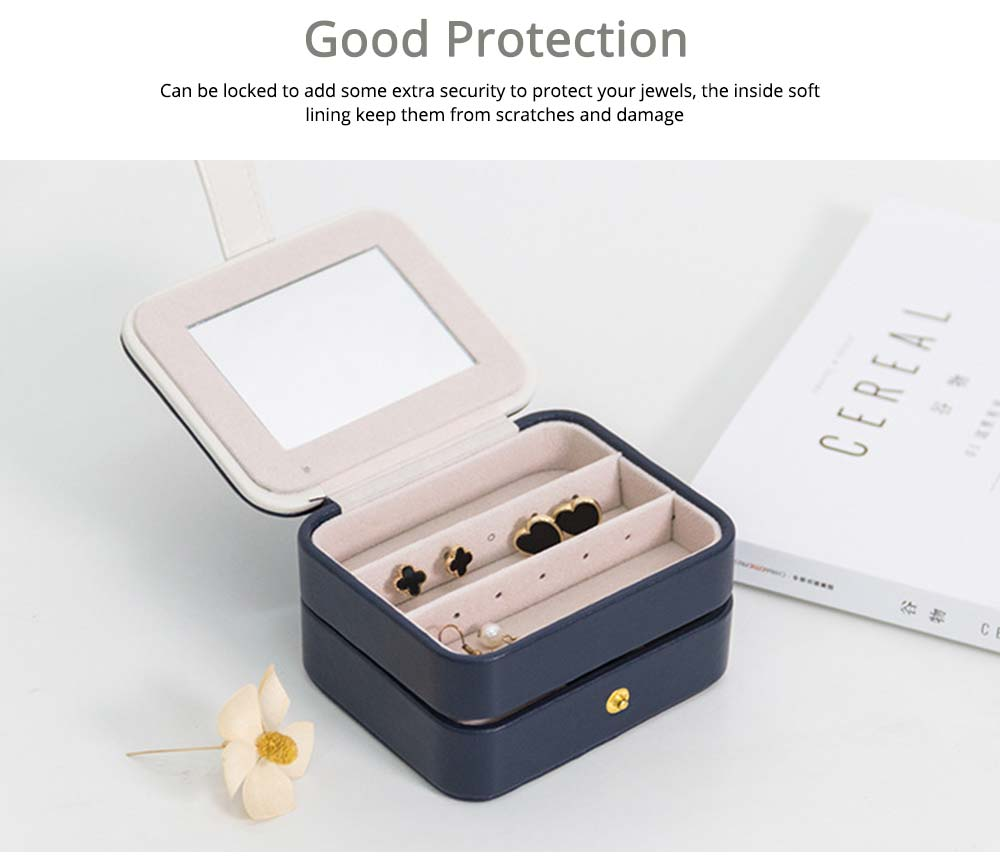 Small Jewelry Box With Lock, Traveling Storage Case Organizer With Mirror For Jewelry Accessories 5