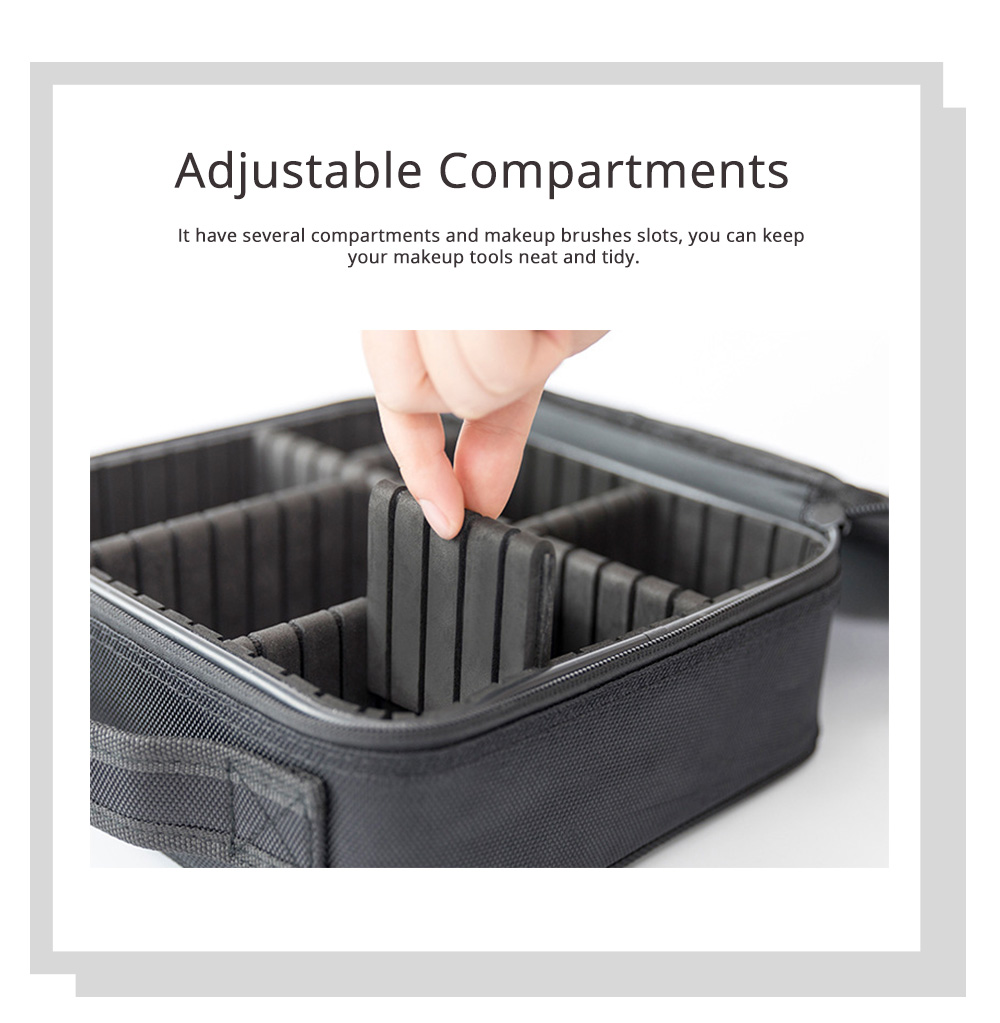 Portable Travel Cosmetics Bag, Black Storage Bag With Adjustable Dividers For Cosmetics, Makeup Brushes, Toiletry & Jewelry 2