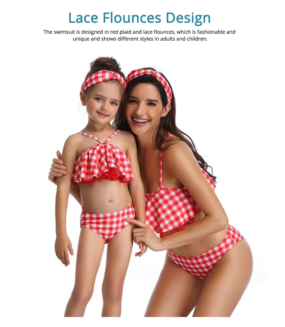 Red Plaid Swimsuit, Fashionable Bathing Suit for Women and Girls 2