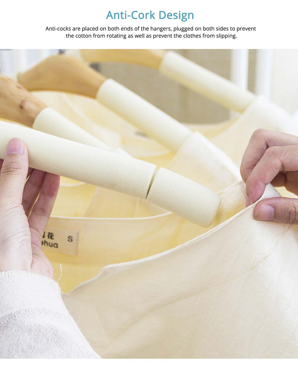 DIY Solid Wood Clothes Hanger with Sponge, Non-Slipping & Seamless Rack for Household Use 2
