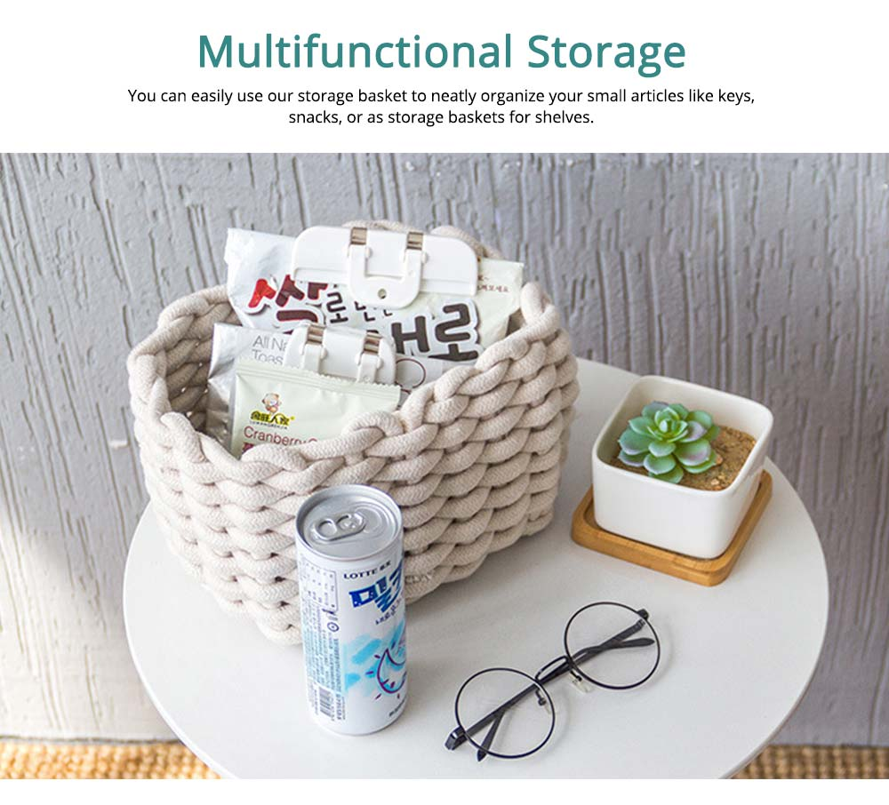 Minimalist Hemp Rope Storage Basket, Stylish Square Storage Container 2