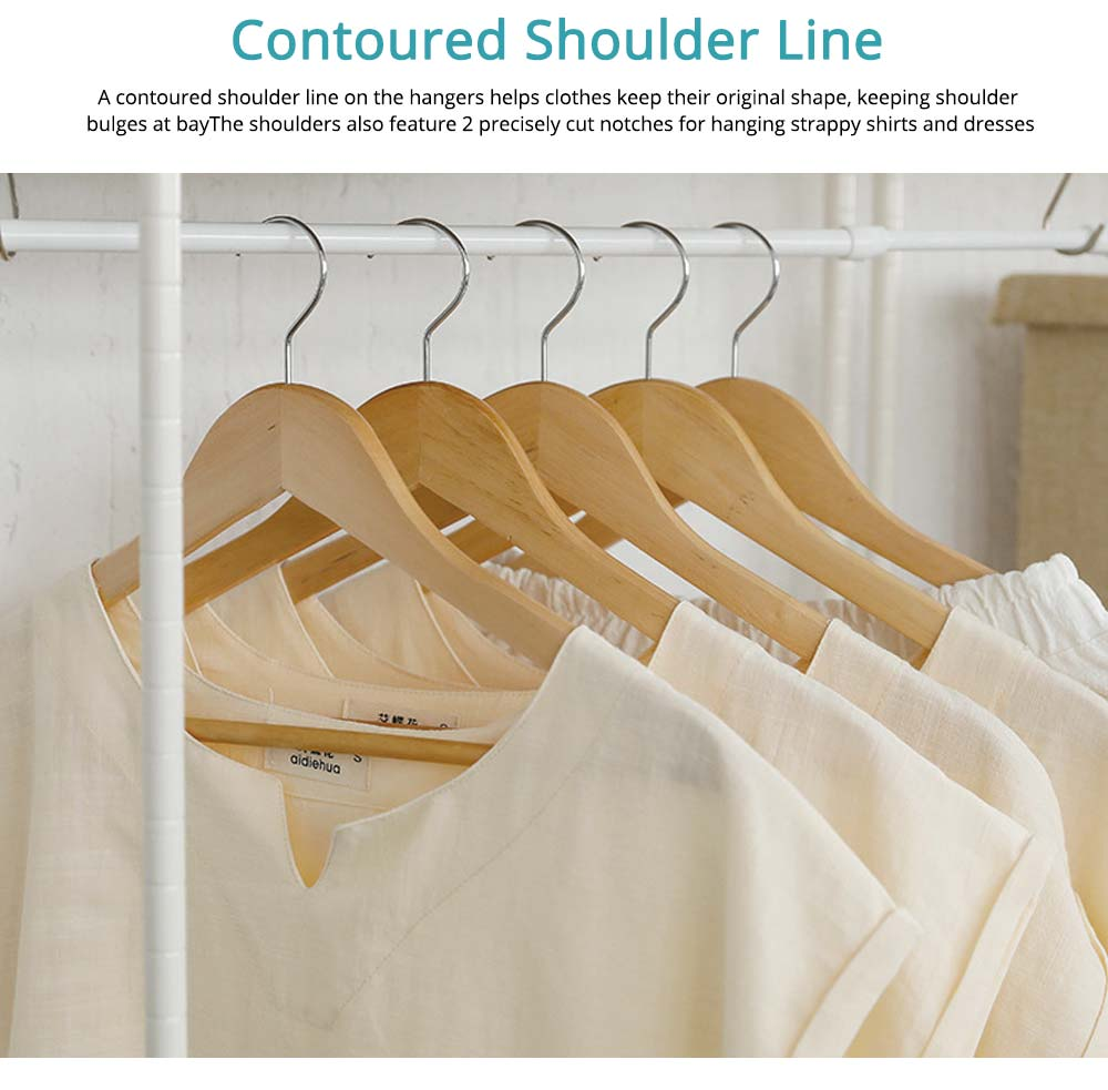 Solid Wooden Suit Hangers With Locking Bar, Sturdy Multifunctional Clothes Hanger For Wardrobe 4