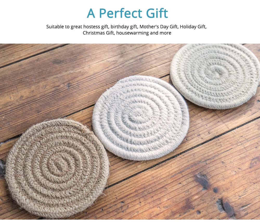 Handmade Cotton Coaster with Round Shape, Stylish Hot Pot Mat with Woven Rope for Kitchen, Office 5