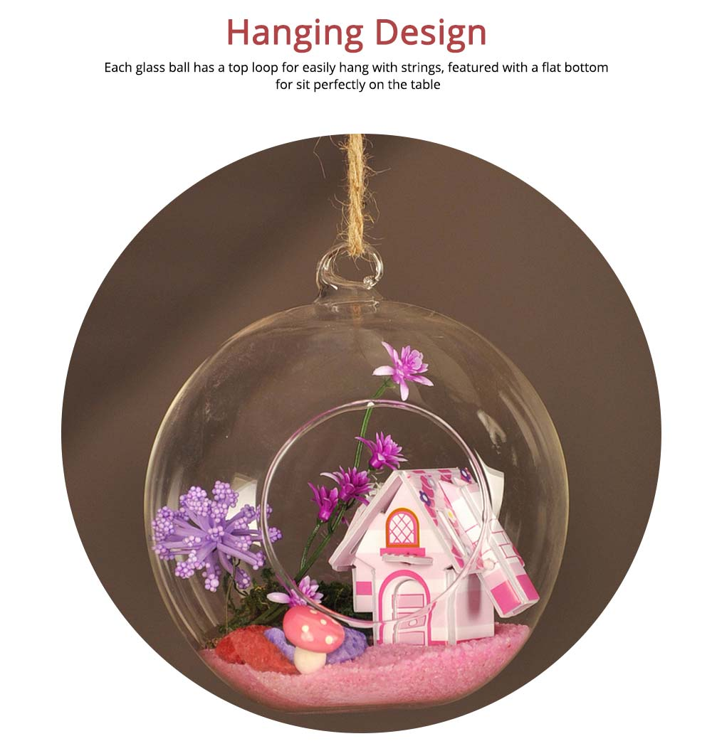 Hanging Glass Terrarium Miniature House Decoration for House, Office, Room,Gift 2