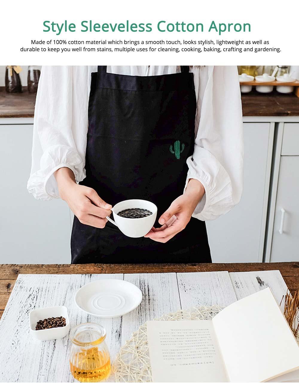 Nordic Style Sleeveless Cotton Apron, Innovative Black Bib for Kitchen & Garden 0
