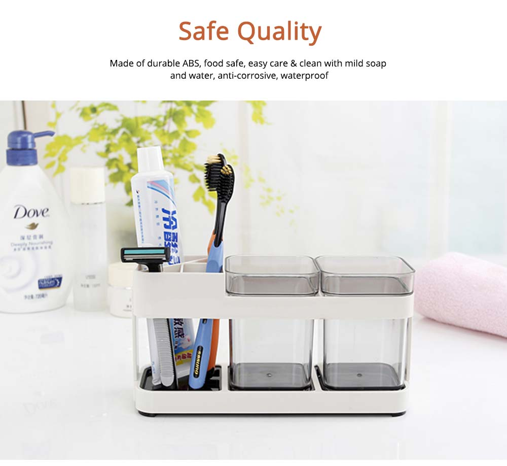 Detachable Plastic Toothbrush Holder with Cup, Wash Supplies Storage Shelf for Household Use 5