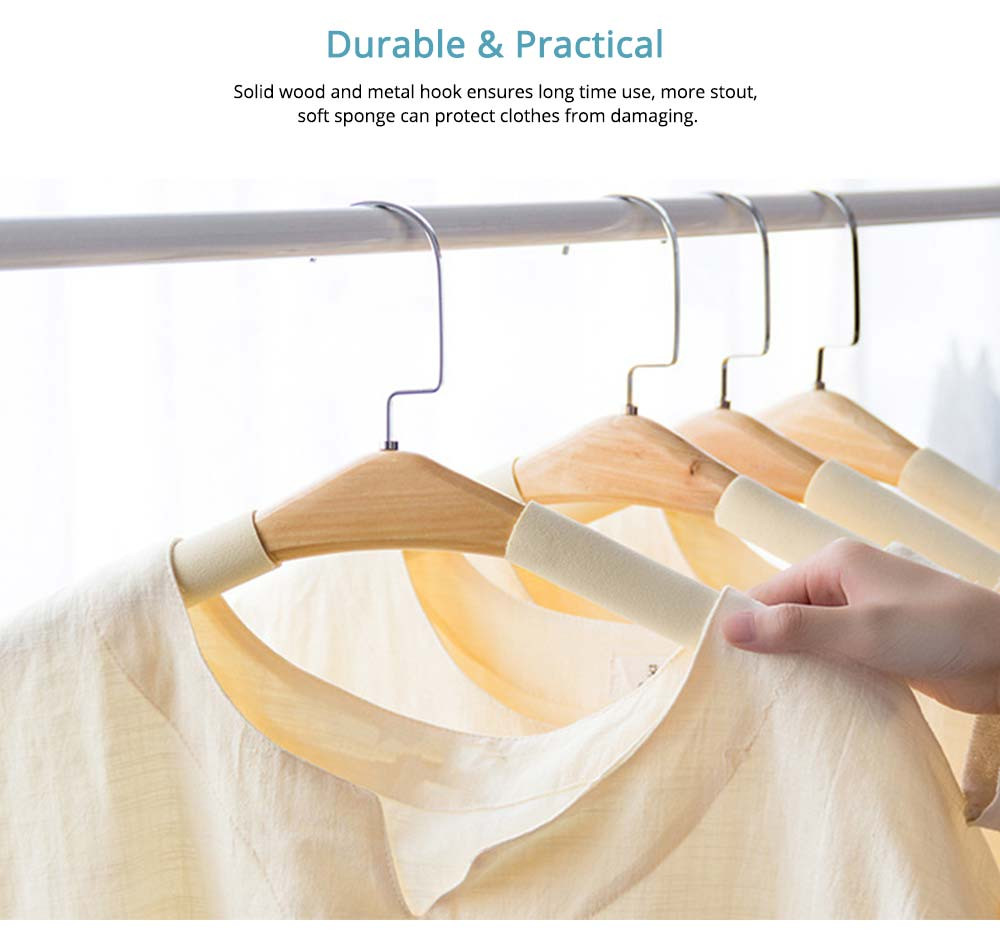DIY Solid Wood Clothes Hanger with Sponge, Non-Slipping & Seamless Rack for Household Use 4
