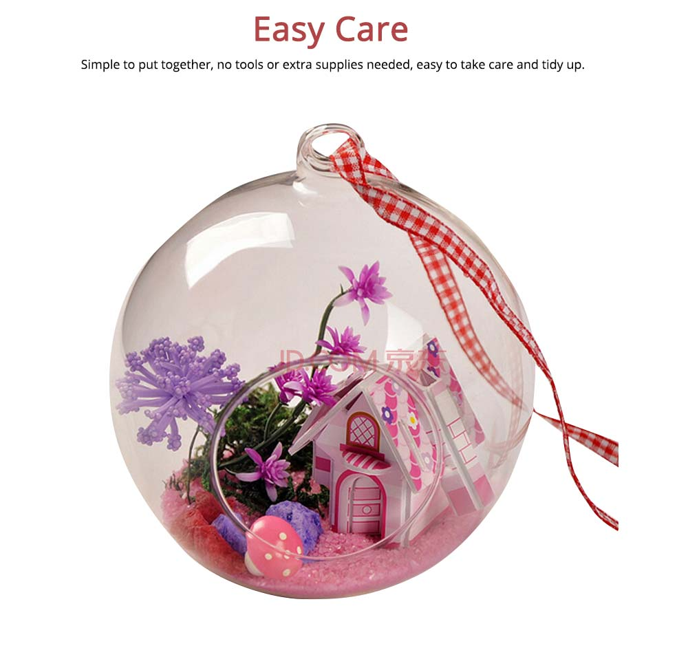 Hanging Glass Terrarium Miniature House Decoration for House, Office, Room,Gift 4