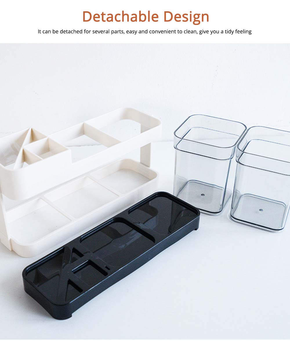 Detachable Plastic Toothbrush Holder with Cup, Wash Supplies Storage Shelf for Household Use 4