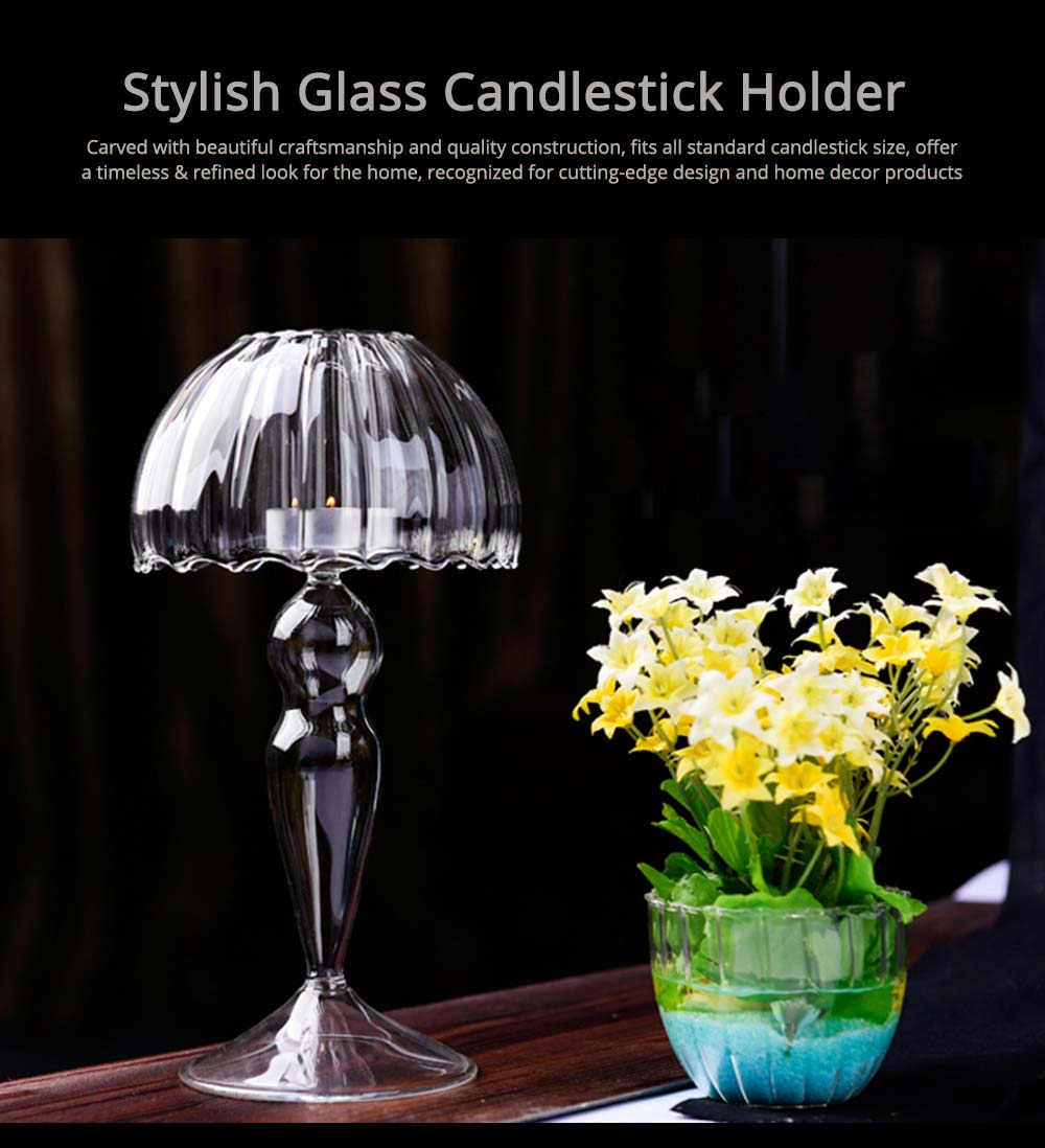 Stylish Glass Candlestick Holder with European Style for Wedding, Party, Table Decoration 0