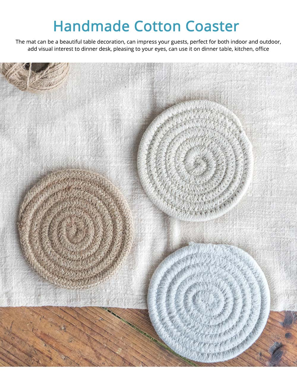Handmade Cotton Coaster with Round Shape, Stylish Hot Pot Mat with Woven Rope for Kitchen, Office 0