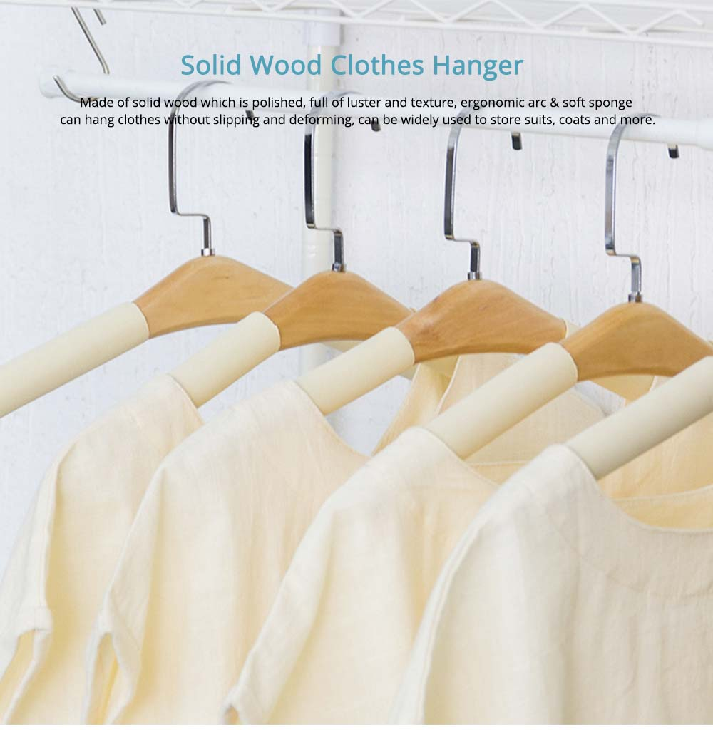 DIY Solid Wood Clothes Hanger with Sponge, Non-Slipping & Seamless Rack for Household Use 0