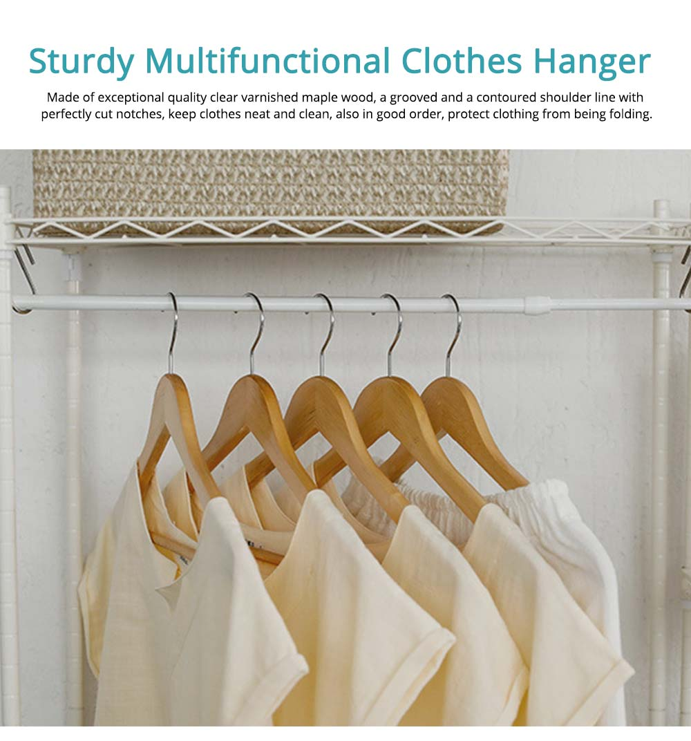Solid Wooden Suit Hangers With Locking Bar, Sturdy Multifunctional Clothes Hanger For Wardrobe 0