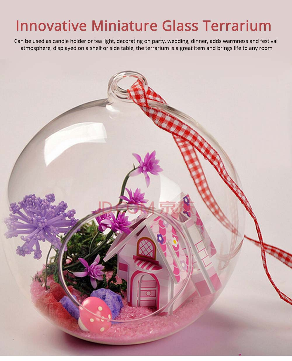 Hanging Glass Terrarium Miniature House Decoration for House, Office, Room,Gift 0