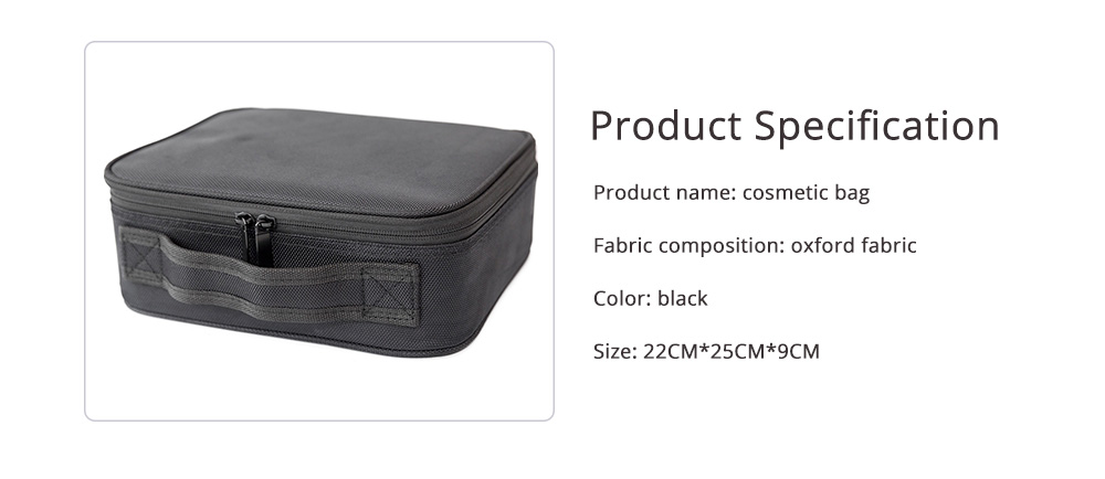 Portable Travel Cosmetics Bag, Black Storage Bag With Adjustable Dividers For Cosmetics, Makeup Brushes, Toiletry & Jewelry 6