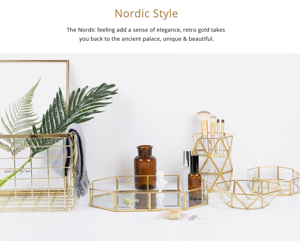 Nordic Style Glass Storage Tray for Small Jewelry and Cosmetics, Storage Salver with Golden Brass Frame 5